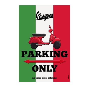 1050_Blechschild | Parking only Vespa
