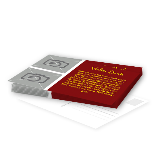 postkarte mit rot brauner textbox und 2 bilder. Black Bedroom Furniture Sets. Home Design Ideas