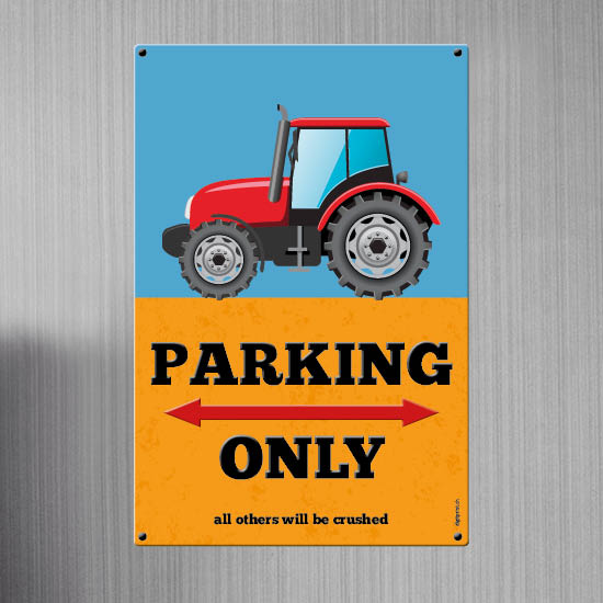 1051_Blechschild | Parking only Traktor