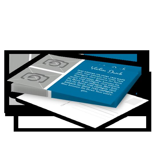 postkarte mit blauer textbox und 2 bilder. Black Bedroom Furniture Sets. Home Design Ideas