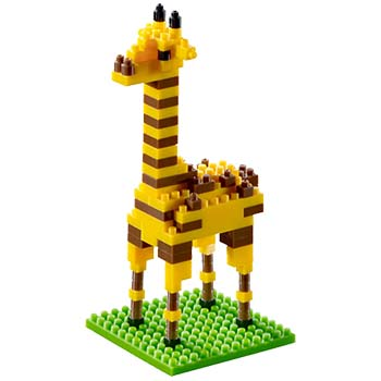 BRIXIES Mini-Bausatz Giraffe, 111 Bausteine, Level 1